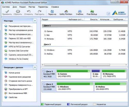 Программа AOMEI Partition Assistant