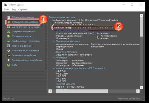 Приложение Speccy для получения информации об ОС