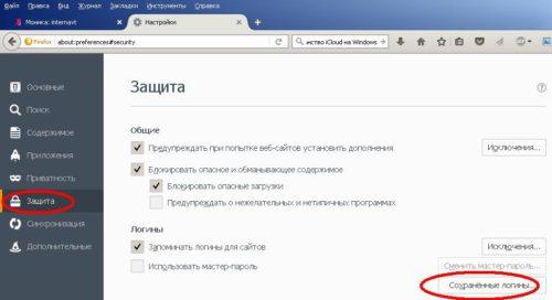 Выберите подменю защиты Firefox