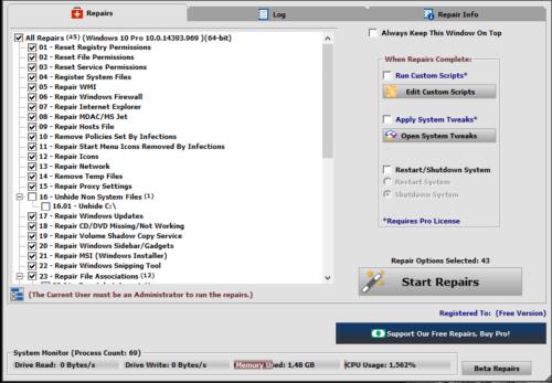 Интерфейс программы Windows Repair