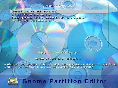 Пункт Gparted Live в меню программы