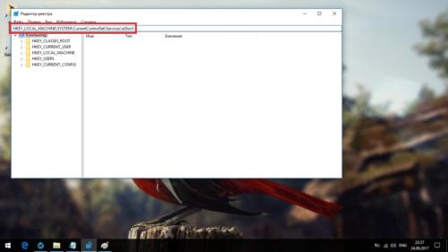 Копирование пути в адресную строку редактора реестра