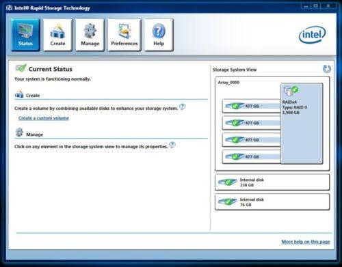 Интерфейс модуля Intel Rapid Storage Technology