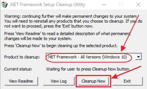 Удаление выбранной версии Microsoft .NET Framework