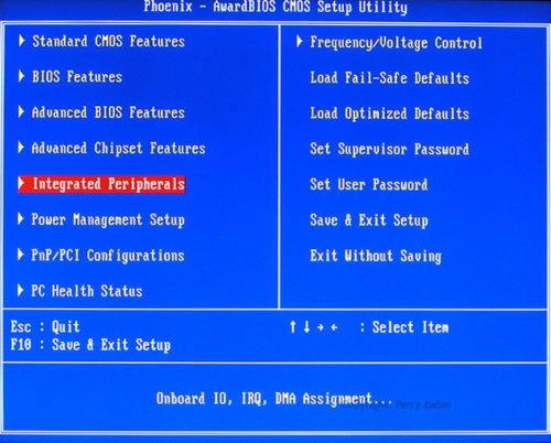 Раздел «Integrated Peripherals» в настройках BIOS