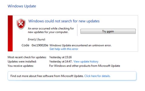 Ошибка 0xc190020e в Windows Update