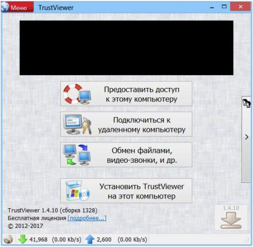 Главное окно программы TrustViewer