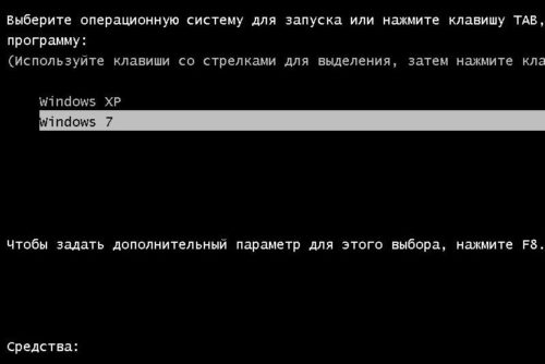Выбор версии Windows при запуске