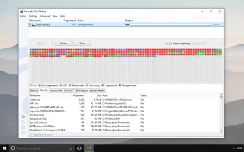 Интерфейс программы Auslogics Disk Defrag