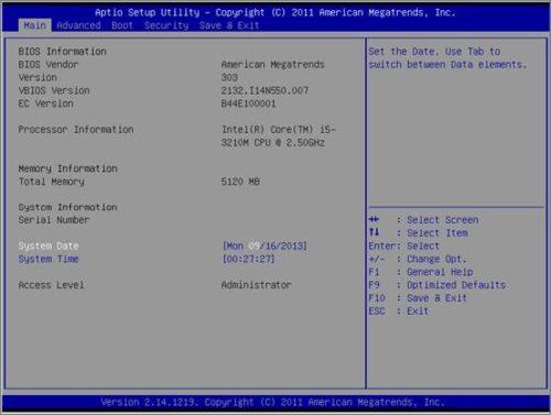 Вкладка «Main» в меню BIOS