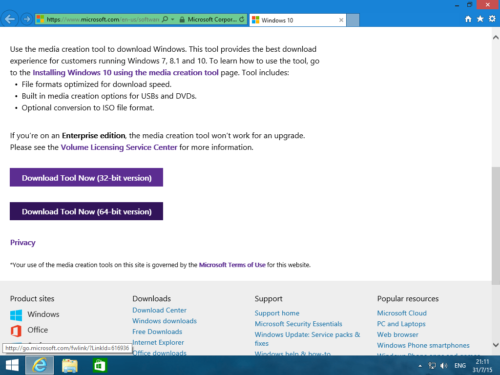 Загрузка Windows 10 Media Creation Tool с официального сайта Microsoft