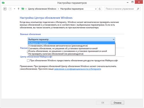 Выбор режима загрузки обновлений Windows 8