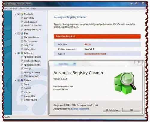 Окно программы Auslogic Registry Cleaner