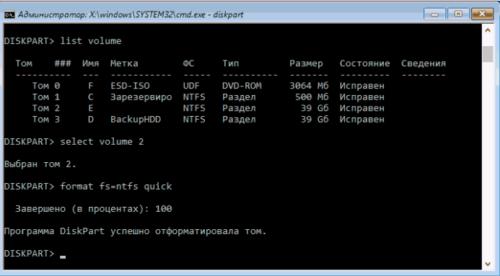Форматирование диска через «Командную строку»