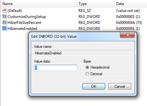 Настройки файла HibernateEnabled