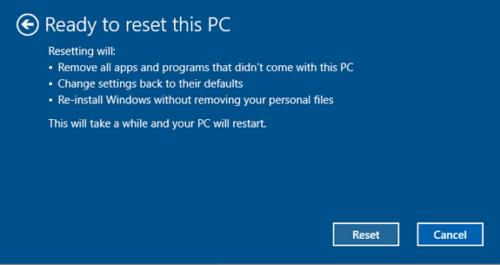 Экран отката системы Windows 10