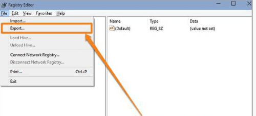 Раздел Export в меню File редактора реестра