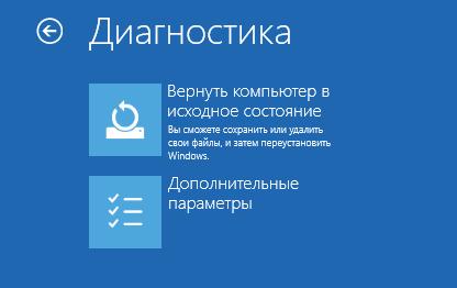 Выбор вариантов восстановления в окне «Диагностика» Windows 10