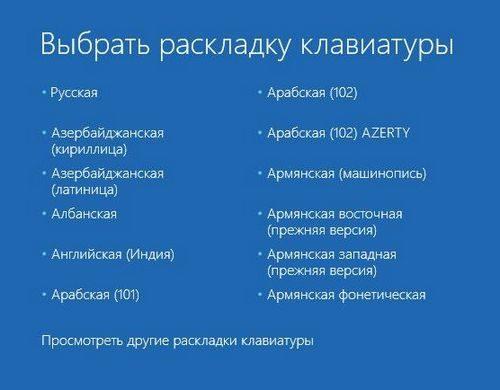 Меню выбора раскладки клавиатуры Windows 10