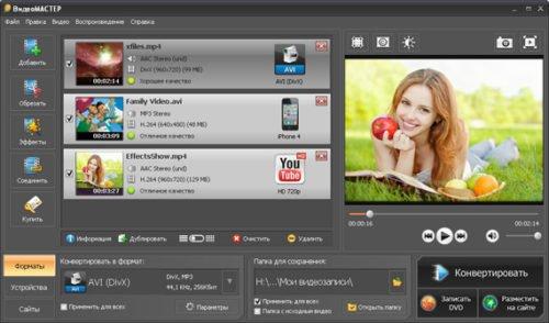 Интерфейс программы Видеомастер