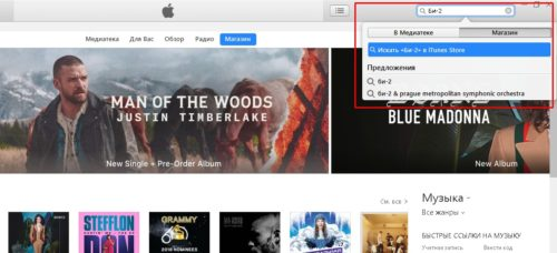 Поиск магазина iTunes