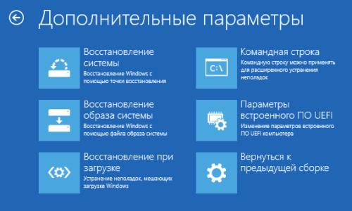 Параметры восстановления с помощью диска в Windows 10