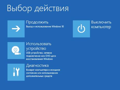 Окно «Выбор действия» в Windows 10