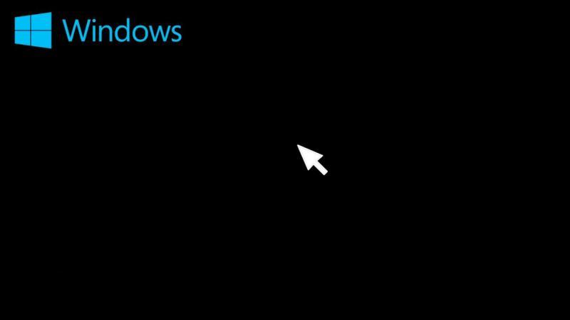 Чёрный экран Windows с курсором