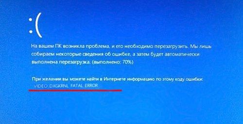 Экран ошибки «VIDEO_DXGKRNL_FATAL_ERROR»