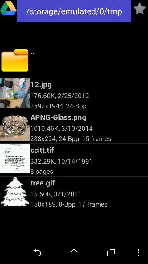 Fast Image Viewer — список BMP-файлов с эскизами