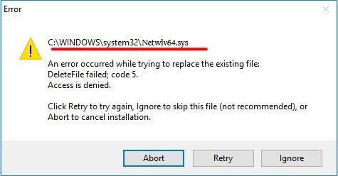 Окно ошибки «Netwlv64.sys»