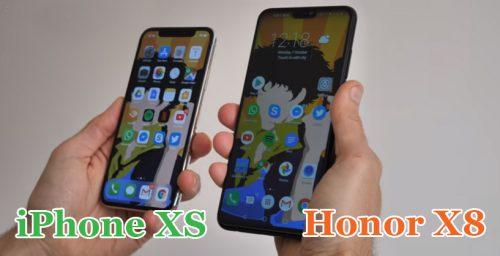 Передние панели iPhone xs и Honor 8x