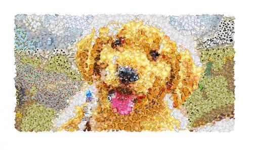 собака в эмодзи картине