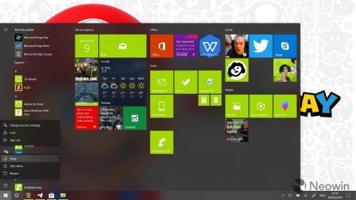 Новые значки в меню Windows 10