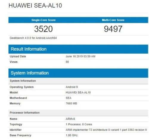 Huawei Nova 5 Pro Geekbench Test